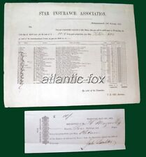 1852 STAR INSURANCE ASSOCIATION Ship RETURN Underwriters payments for Loss