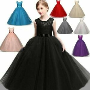 Flower Girl Dress Kid Lace Bridesmaid Princess Prom Wedding Party Maxi Gown Xmas