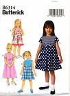 BUTTERICK SEWING PATTERN 6314 GIRLS SZ 2-5 RETRO DRESS W/ PLEATED SKIRT
