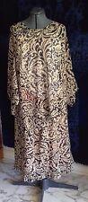 2-Piece Dress APOSTROPHE Black & Tan, Pullover Dolman Sleeve, Lined Skirt