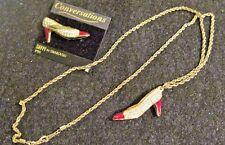 Swarovski Swan Signed Red Enamel Crystal High Heel Shoe Brooch Necklace 482
