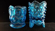 Beautiful Vintage Blue Shot Glasses Cool Design Mid-Century Collectible