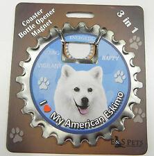American Eskimo dog coaster magnet bottle opener Bottle Ninjas magnetic