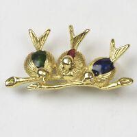 Bird Trio Pin Brooch Three Birds on a Branch Rhinestone Eyes Red Green Blue Back