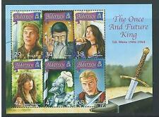 """Alderney 2006 """"el una vez y futuro rey"""" hoja fina en miniatura utilizados"""