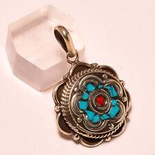 "Coral Tibetan Turquoise Gemstone Ethnic Jewelry Nepali Pendant S-1.50""Cm Rk-5496"