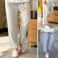 Mens Loose Linen Pants Casual Beach Yoga Drawstring Long Trousers Slacks S-5XL