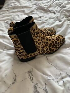 Asos Leopard Print Pony Skin Chelsea Boots Size 6 Ankle Hairy Hide Real Leather