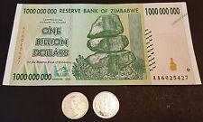 1 Billion Zimbabwe Dollars Bank Note XF + 1/10 oz APMEX Silver Fractional Round