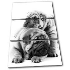 Pug Puppies Dog Animals TREBLE TOILE murale ART Photo Print