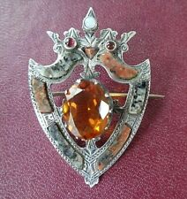 Scottish Silver & Citrine Luckenbooth Sweetheart Brooch c1890 Aberdeen Peterhead