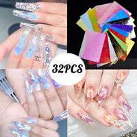 32pcs Holographic Fire Flame Nail Hollow Sticker Manicure Decal Stick DIY Art