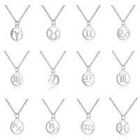 Silver 12 Constellation Pendant Necklaces Zodiac Signs Stainless Steel Jewelry