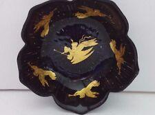 Vintage Black Flower Dishes Petal Bowls Ice-Cream, Dessert Dish Gold Leaf Angels