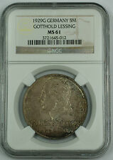 1929 G Germany 5 Mark Silver Coin Gotthold Lessing NGC MS-61 Toned