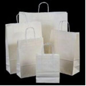 100 Twisted Handles WHITE Luxury Kraft Paper Party Bags Wedding18cm x 25cm x 8cm