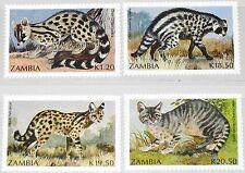 ZAMBIA SAMBIA 1991 540-43 519-22 small Carnivores kleine Raubtiere Animals MNH