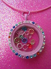 Living Memory Multi-Color Crystal Round Locket with 10 crystals and charm USA