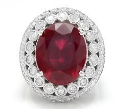 14.80 Quilates Rojo Rubí y Diamante Natural 14K Macizo Blanco Anillo de Oro