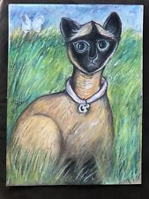 Original Pastel Drawing By MBollen Siamese Cat Butterfly Field Green