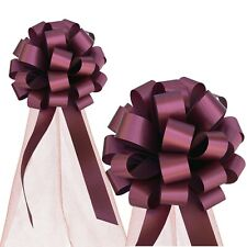 """Burgundy Wedding Pull Bows with Tulle Tails - 8"""" Wide, Set of 6, Valentine's Day"""