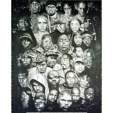 HIP HOP LEGENDS - COLLAGE POSTER - 24x36 NOTORIOUS SNOOP TUPAC EMINEM 1332