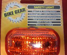 Bike Gear 3 LED Red Light  - Safety Light - Flash/Steady Tail light  w/bat