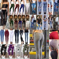 Mode Damenjeans Röhrenjeans Jeans Hose High Waist Jeanshose Slim Skinny Leggings