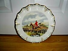 ROYAL CROWN DERBY Lombardy Hunting Scene Plate Signed M Townsend ~ 1st Excellent