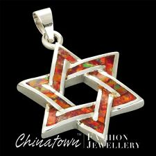 Star of David Ruby Red Fire Opal Silver Jewelry Necklace Pendant