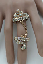 New Women Gold Metal Long Snake Ring Fashion Jewelry Wrap Around One Size Band