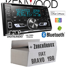 Kenwood Autoradio für Fiat Bravo 198 2DIN Bluetooth DAB+ USB CD MP3 Einbauset