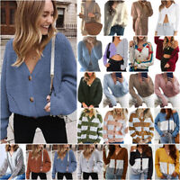 Cardigan Strickjacke Strickpullover Damen Winterjacke Freizeit Mantel Outwear