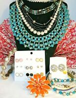 15 Vintage 80's,90's to Now AMAZING Jewelry Lot.LOOK RMN Necklace. Some Signed.