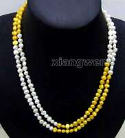 """Natural White and Yellow 6-7mm Baroque Freshwater Pearl Necklace for Women 40"""""""