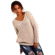 Grobe hüftlange Damen-Pullover aus Baumwollmischung