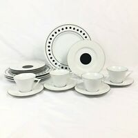 16 PC SET SASAKI DANCING SQUARES DINNER SALAD PLATE CUP SAUCER ANDREE PUTMAN