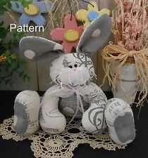 PATTERN Primitive Raggedy Shabby Chic Bunny Rabbit Doll Spring Folk Art #86