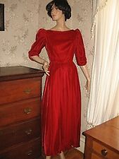 New listing Lovely Vintage 1980 Red Velvet Victorian Style Maxi Dress/Gown -Crinoline