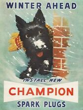 Scottish Terrier Champion Spark Plugs Winter Refrigerator / Tool Box Magnet