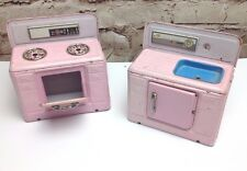 Cute vintage pink stove and sink retro doll furniture metal