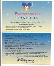 pass Disneyland PARIS calendrier PASSEPORT ANNUEL FRANCILIEN 2000-2002 TTB