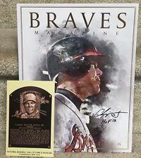 Chipper Jones X'd HOF Postcard & 2018 Souvenir Program / Magazine Atlanta Braves
