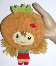 "Amigurumi Crochet Change Purse CUTE GIRL Doll with Crown  / 8"" tall x 5.5"" wide"