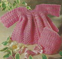 "Baby Lace Coat and Bonnet Crochet Pattern 19-20""  4ply 746"