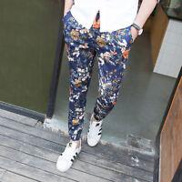 Men's Flower Hip Hop Printed Floral Harlan Slim Fit Casual Trousers Pants