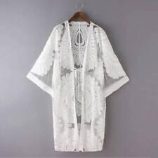 Women Beach Bikini Cover Shirt Kimono Cardigan Outwear Flower Lace Top Blouse UK