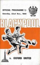 Football Programme>BLACKPOOL v OXFORD UNITED Nov 1969
