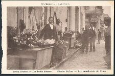 POSTCARD Macedonia Thessaloniki Small Traders Flower Sellers c1915 perf