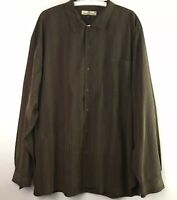 Tommy Bahama Mens Size 2XL XXL Olive Green 100% Silk Button Up Shirt Long Sleeve